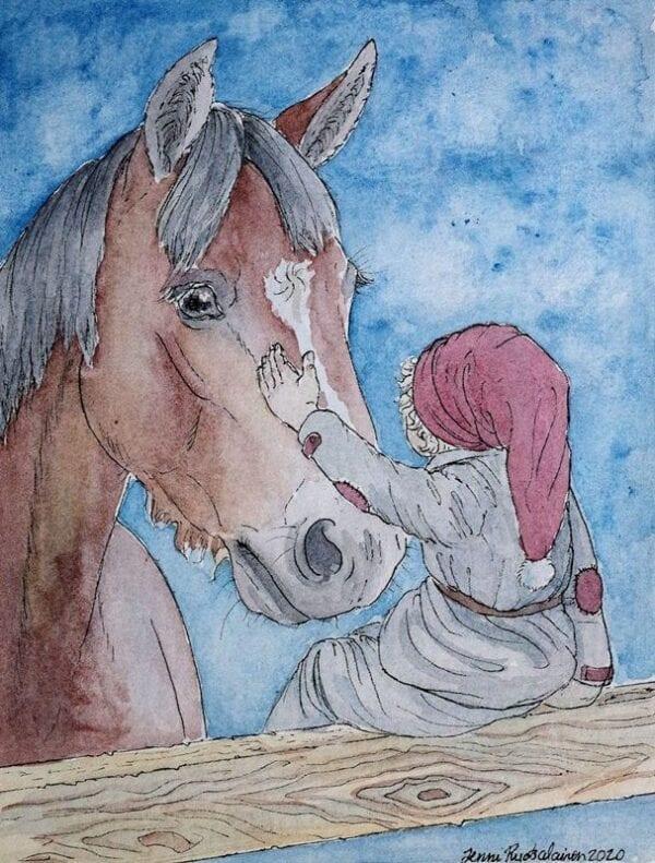 Art Kaviokas -postikortti, Aidalla