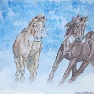 Art Kaviokas -postikortti, Laukkaa lumessa