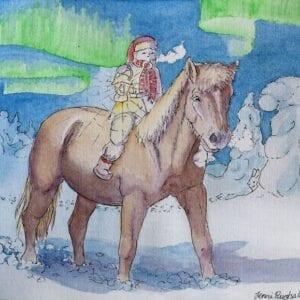 Art Kaviokas -postikortti, Revontulet