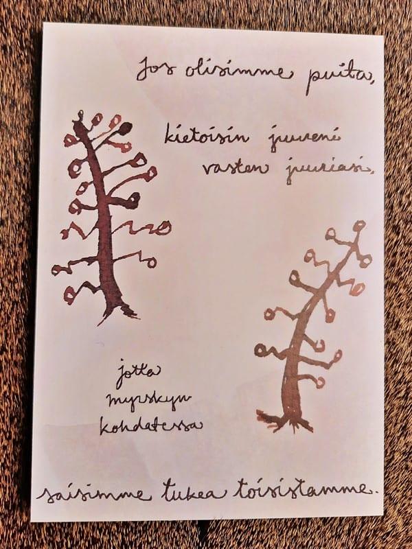 NAAPA design -postikortti, jos olisimme puita