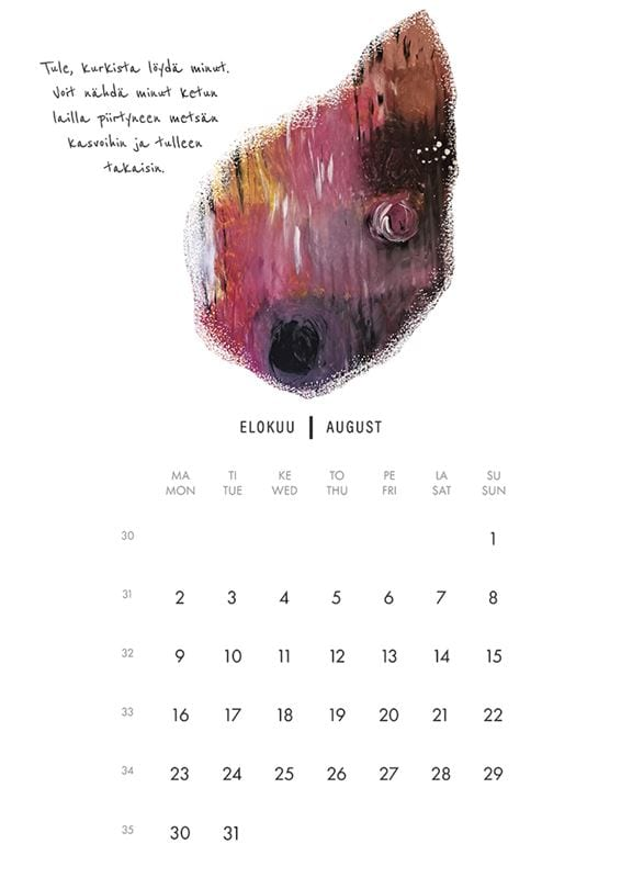NAAPA design -vuosikalenteri 2021, elokuu