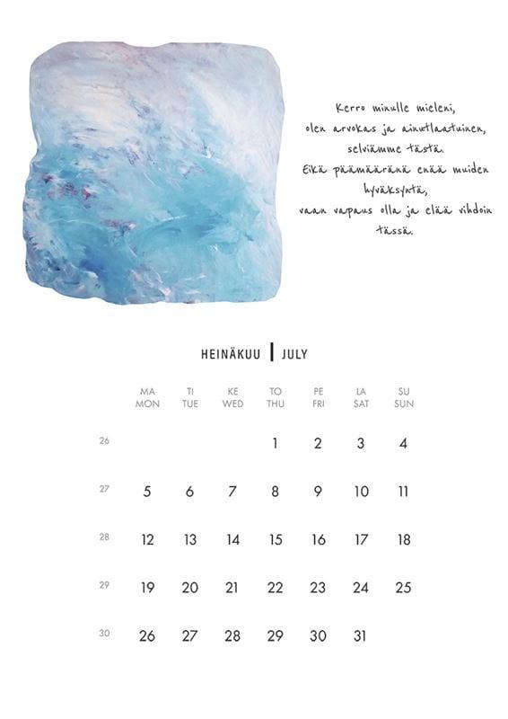 NAAPA design -vuosikalenteri 2021, heinäkuu