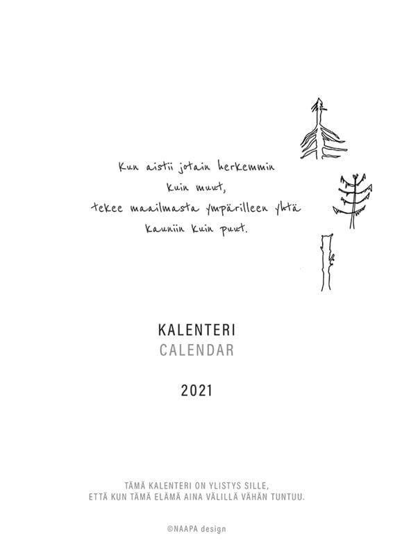 NAAPA design -vuosikalenteri 2021, kansi